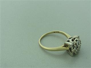 estate 14k gold diamond engagement cluster ring