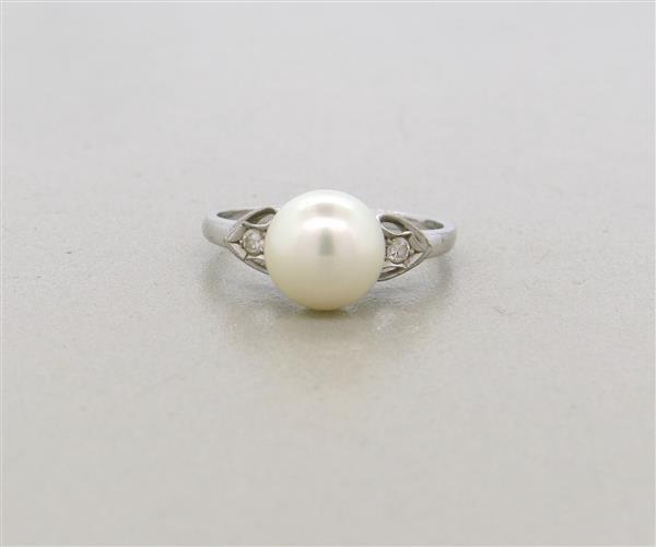 Vintage Mikimoto 14k Gold Diamond Pearl Ring