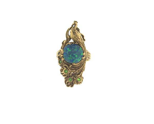 Antique 14k Gold Opal Peridot Peacock Ring