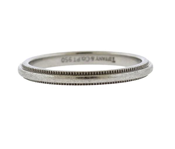 Tiffany & Co Platinum Milgrain Wedding Band Ring