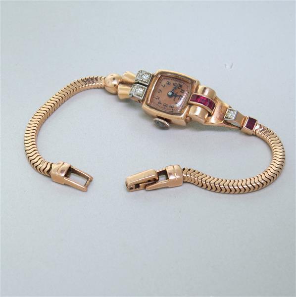 Glycine 14k Gold Diamond Ruby Watch