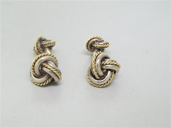 Tiffany Amp Co 18k Gold Sterling Silver Knot Cufflinks