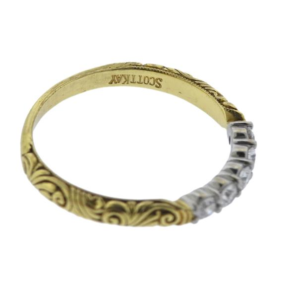 Scott Kay Platinum Engraved Five Diamond 0 30ctw Wedding: Scott Kay 19K Gold Platinum Diamond Wedding Band Ring