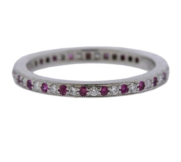 Tiffany & Co Pink Sapphire Diamond Platinum Eternity